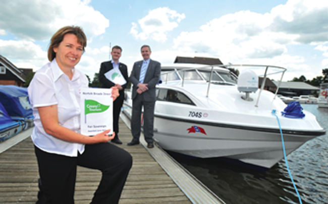 Norfolk Broads Direct was awarded the first Green Boat Mark in the Broads