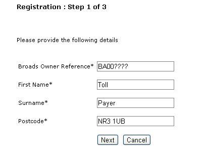 Registration - step 1