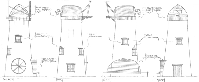 Architect's drawings for Stubb Mill.